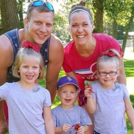 The Lazer family of Rosemount, shown in a July 4, 2017 photo, were  involved in a two-vehicle crash in rural Vermillion Township on Saturday, June 16, 2018. The crash killed Jared Lazer, 34, of Rosemount, and injured his wife, Jillayne, and their three children -- twin 5-year old girls, Peyton, left, and Audrey, far right, and 3-year old son, Parker, center. (Courtesy of Jennifer Bottem).
